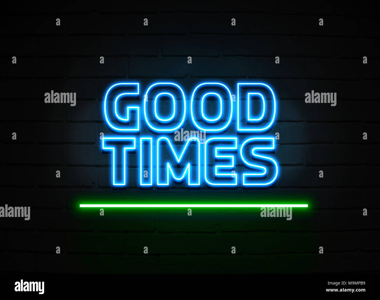 Good Times neon sign - Glowing Neon Sign on brickwall wall - 3D rendered royalty free stock illustration. - Stock Image