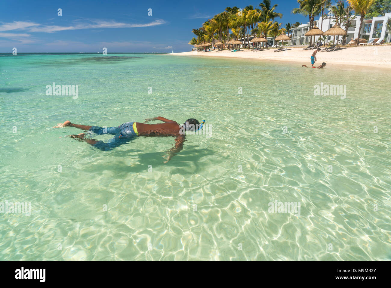 Snorkeling in the Turtle Bay, Mauritius - Stock Image
