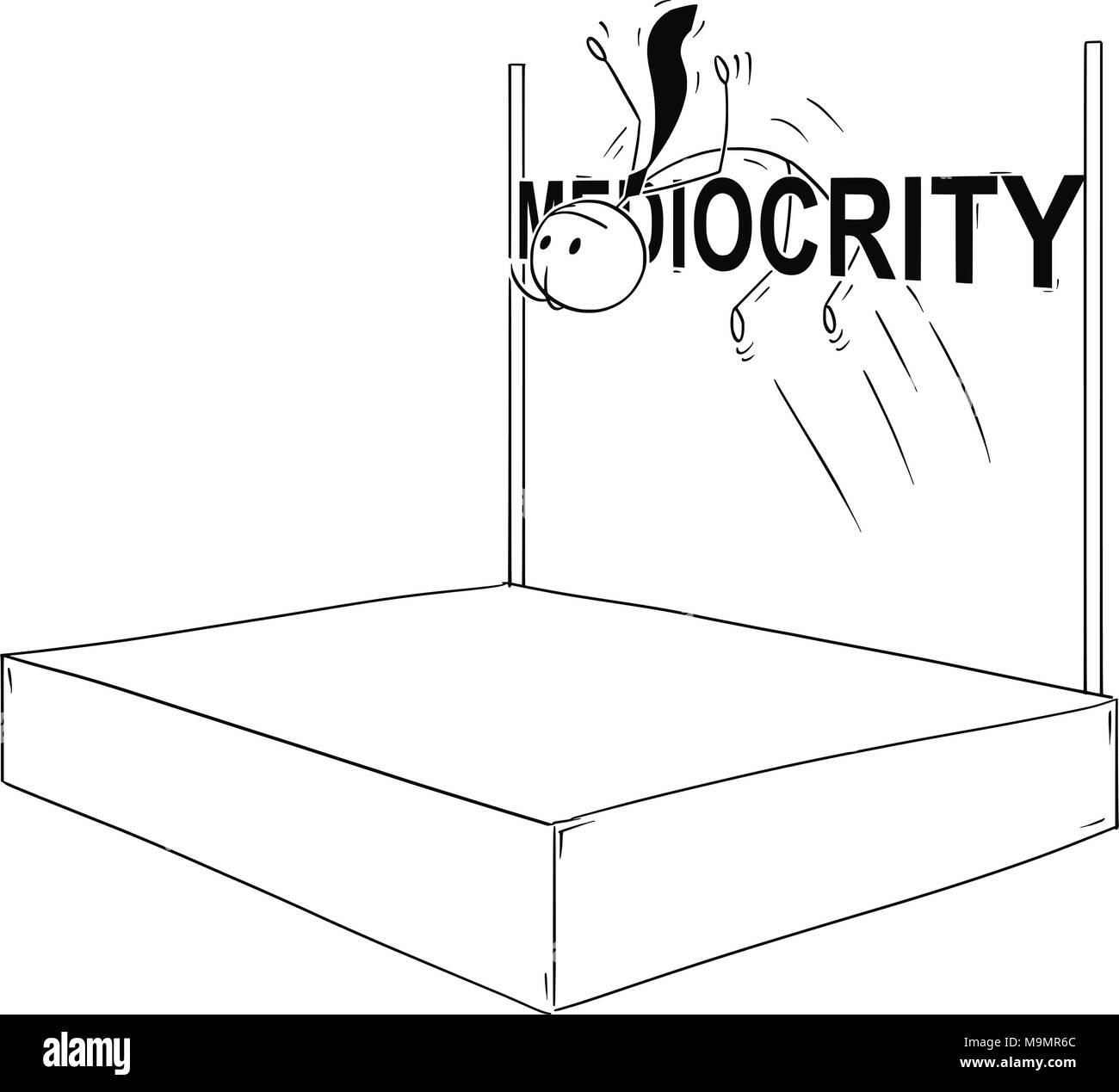 Cartoon of Businessman Doing High Jump over Mediocrity - Stock Image
