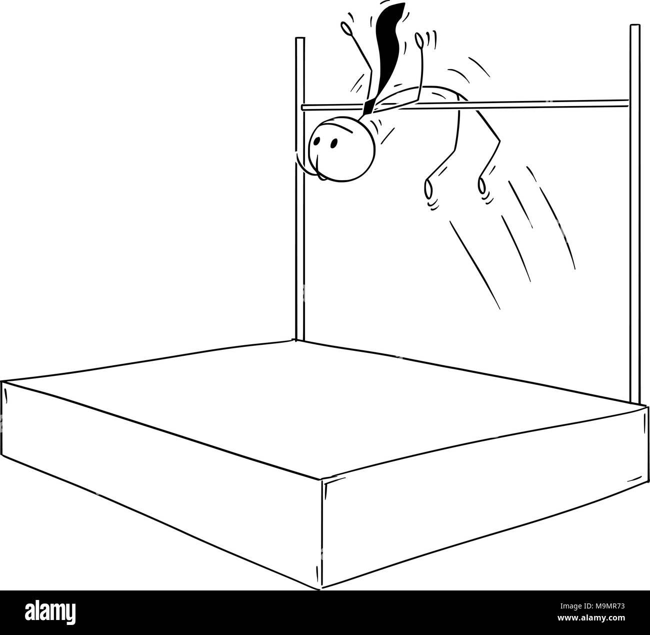 Cartoon of Businessman Doing High Jump - Stock Image