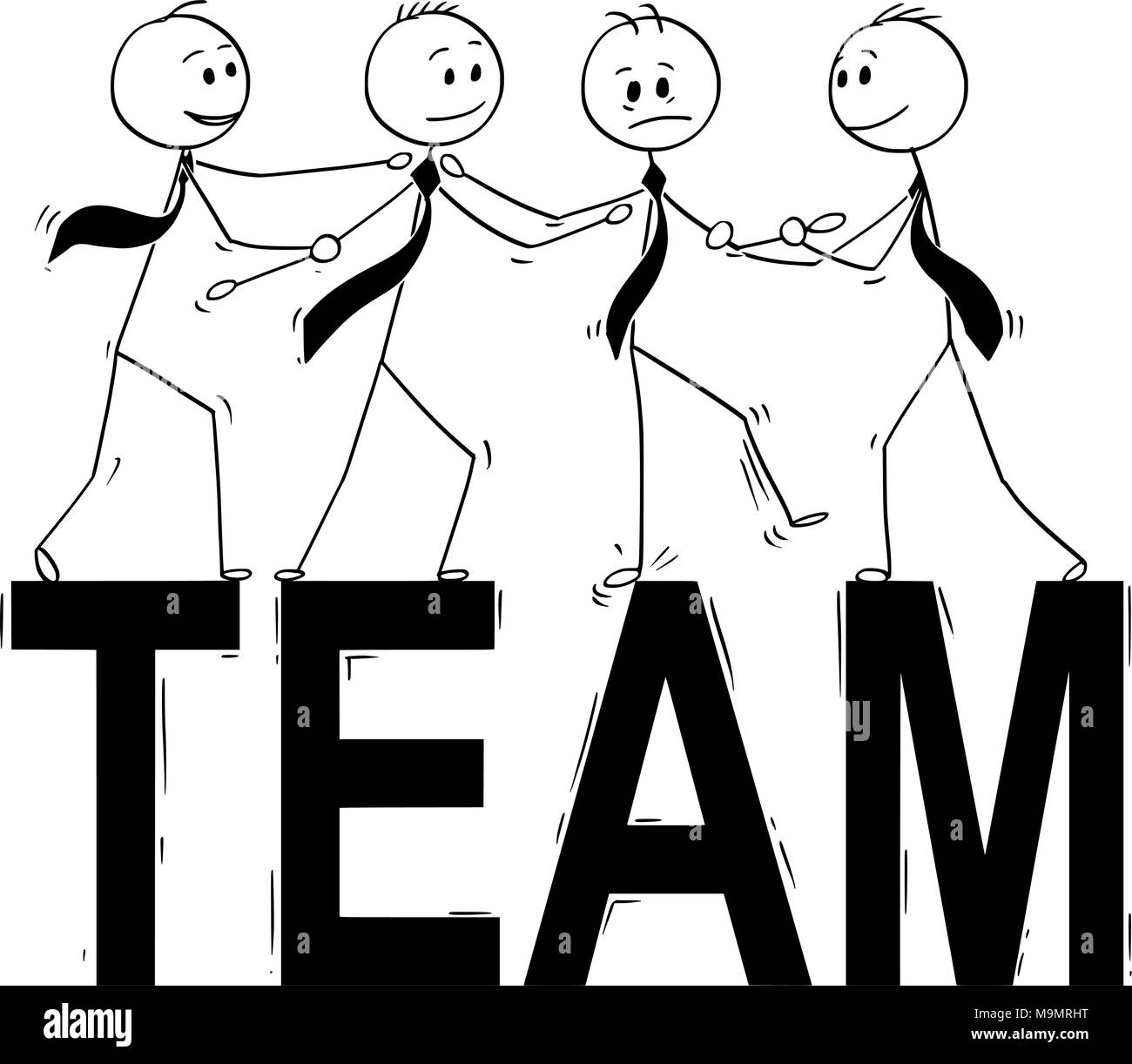 Helping Each Other: Cartoon Of Team Business People Helping Each Other To