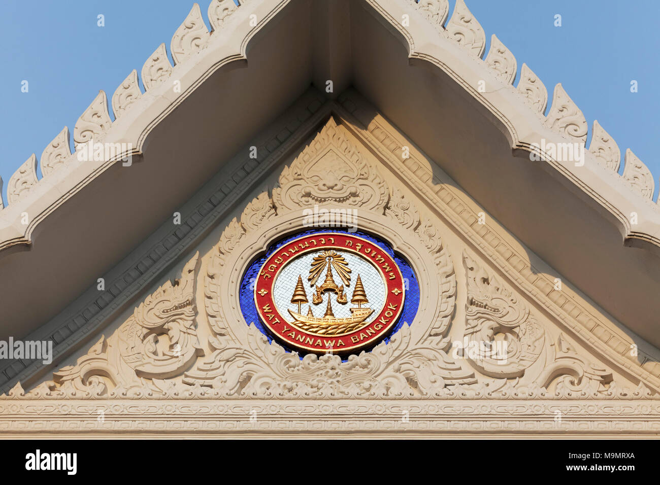 Emblem, Buddhist temple in the form of a junk, Wat Yannawa, Sathon, Bangkok, Thailand - Stock Image