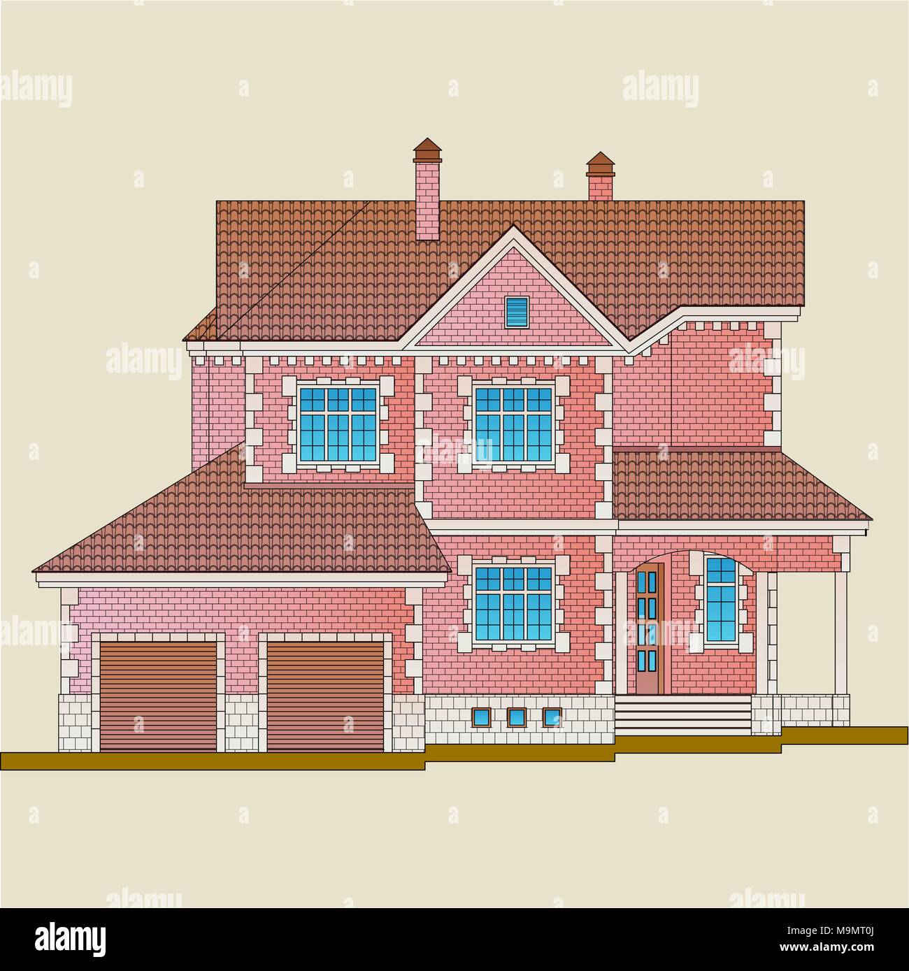 The house is built of red brick and decoration details with white stone. Classical style of the architecture of the apartment house. - Stock Vector