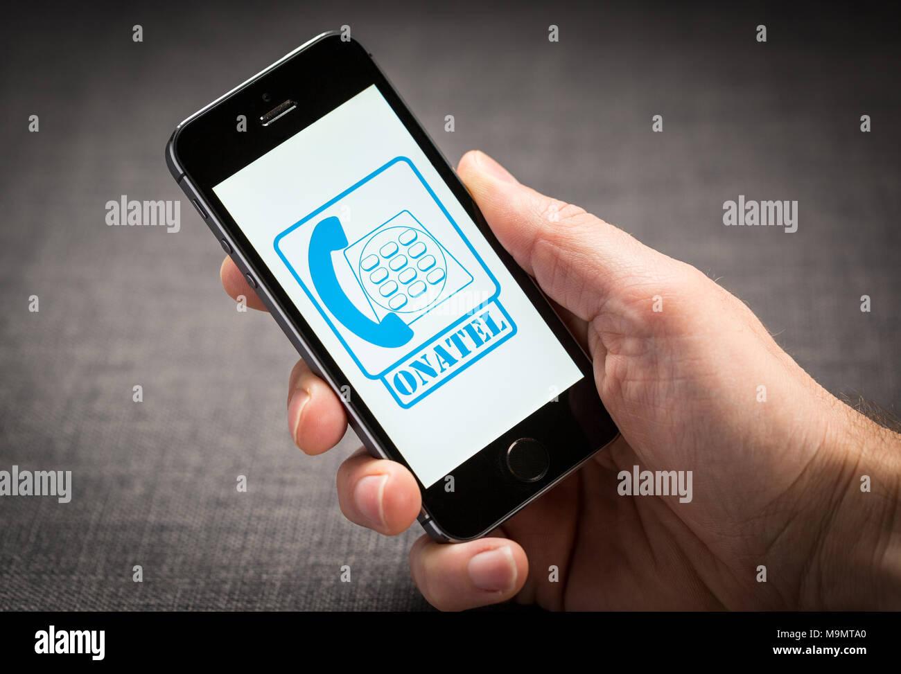 Onatel Telecommunications company on an iPhone - Stock Image