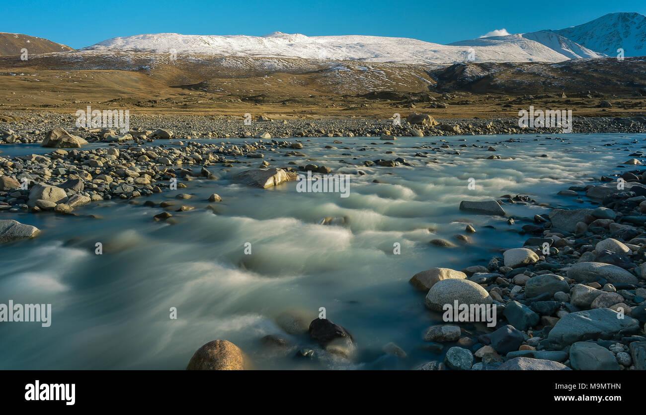 Tsagaan-gol, White River, Altai mountains, Mongolia - Stock Image