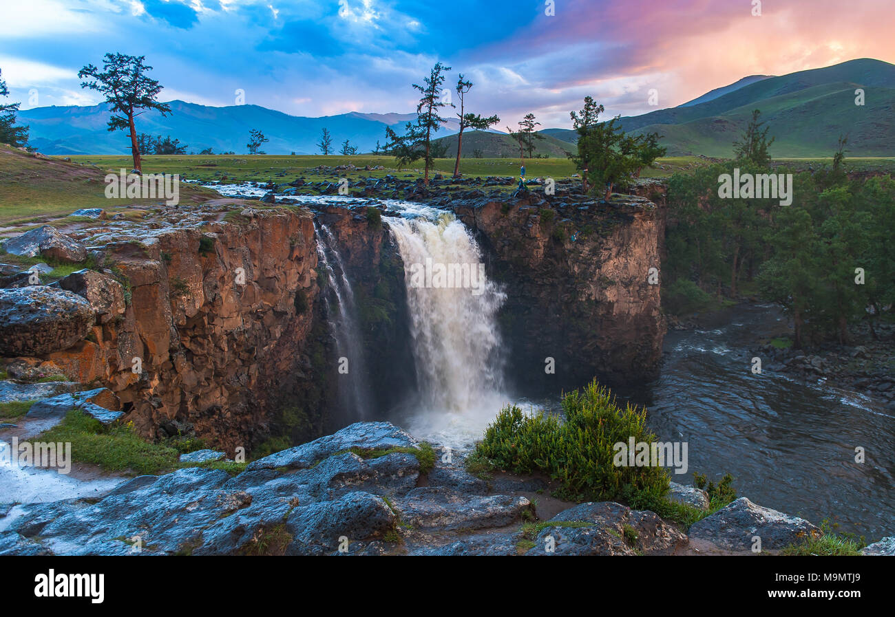 View of Orkhon waterfalls, Mongolia - Stock Image