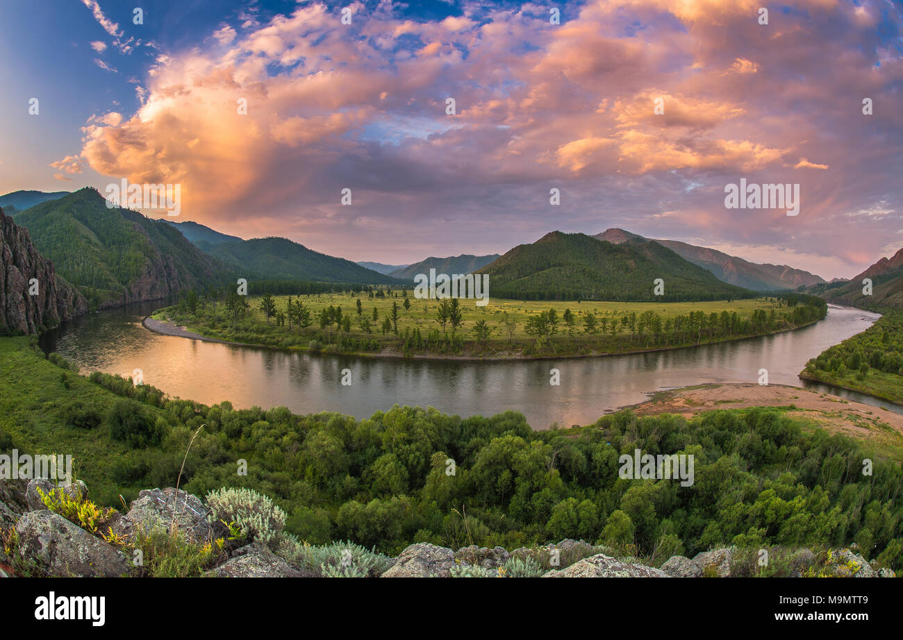 Dramatic clouds during dusk over Tuul river, Gorkhi-Terelj National Park, Mongolia - Stock Image