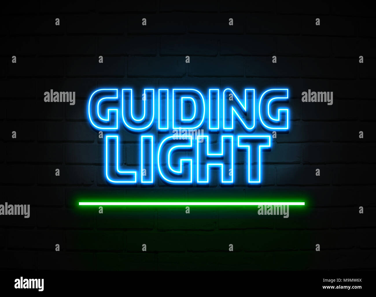 Guiding Light neon sign - Glowing Neon Sign on brickwall wall - 3D rendered royalty free stock illustration. - Stock Image