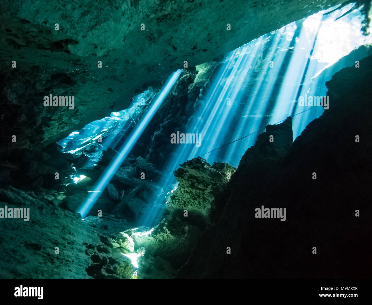 Sun rays arrive from the forest and penetrate the crystal clear waters inside the Chac Mool Cenote near Playa del Carmen in Mexico - Stock Image