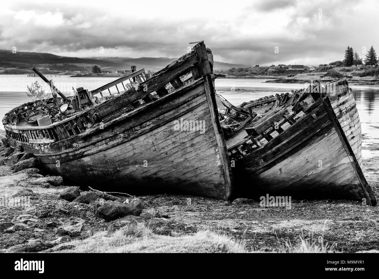 Old fishing boats at Salen, Isle of Mull, Inner Hebrides, Scotland, UK - Stock Image