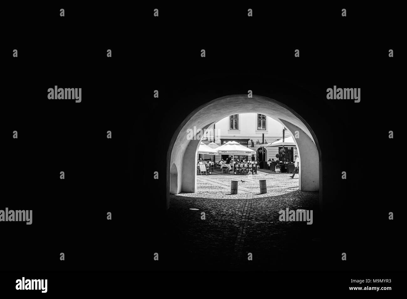 A passage in old town, Sibiu, Romania. - Stock Image