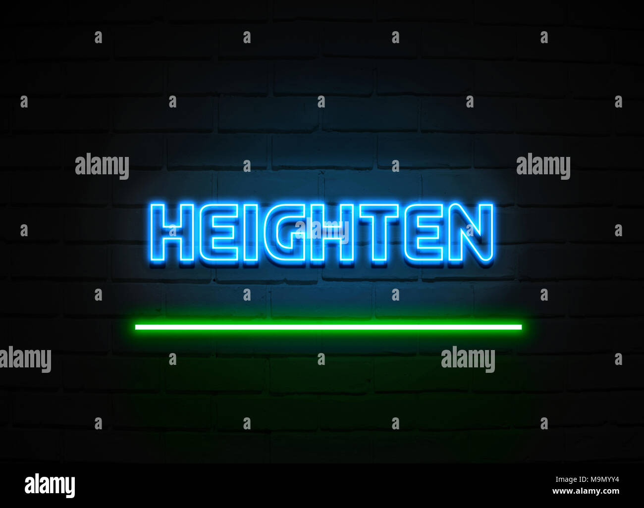 Heighten neon sign - Glowing Neon Sign on brickwall wall - 3D rendered royalty free stock illustration. - Stock Image
