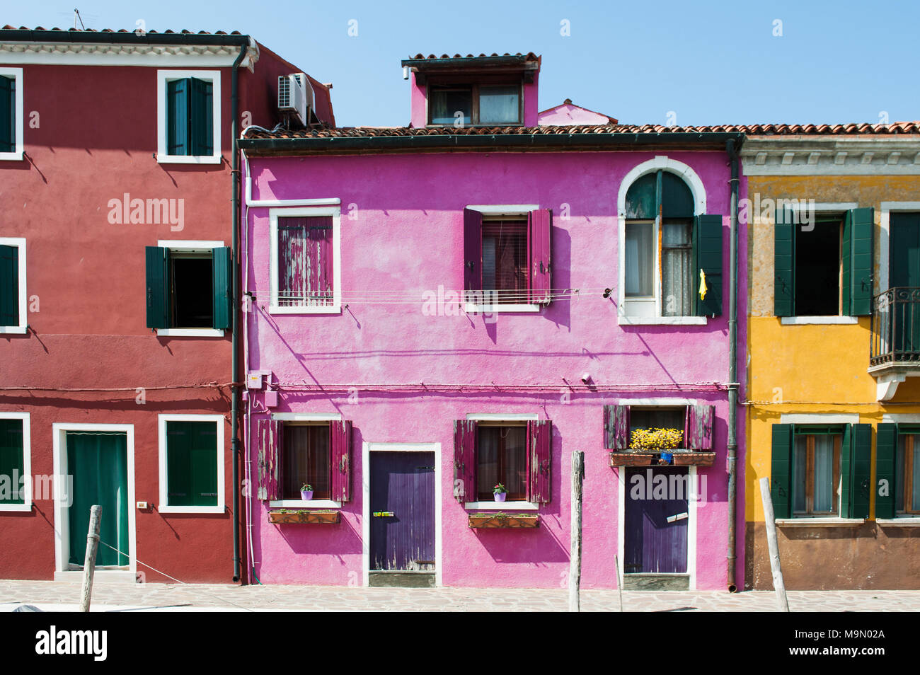 Burano island, Venice, Italy, Europe - typical colorful houses - Stock Image
