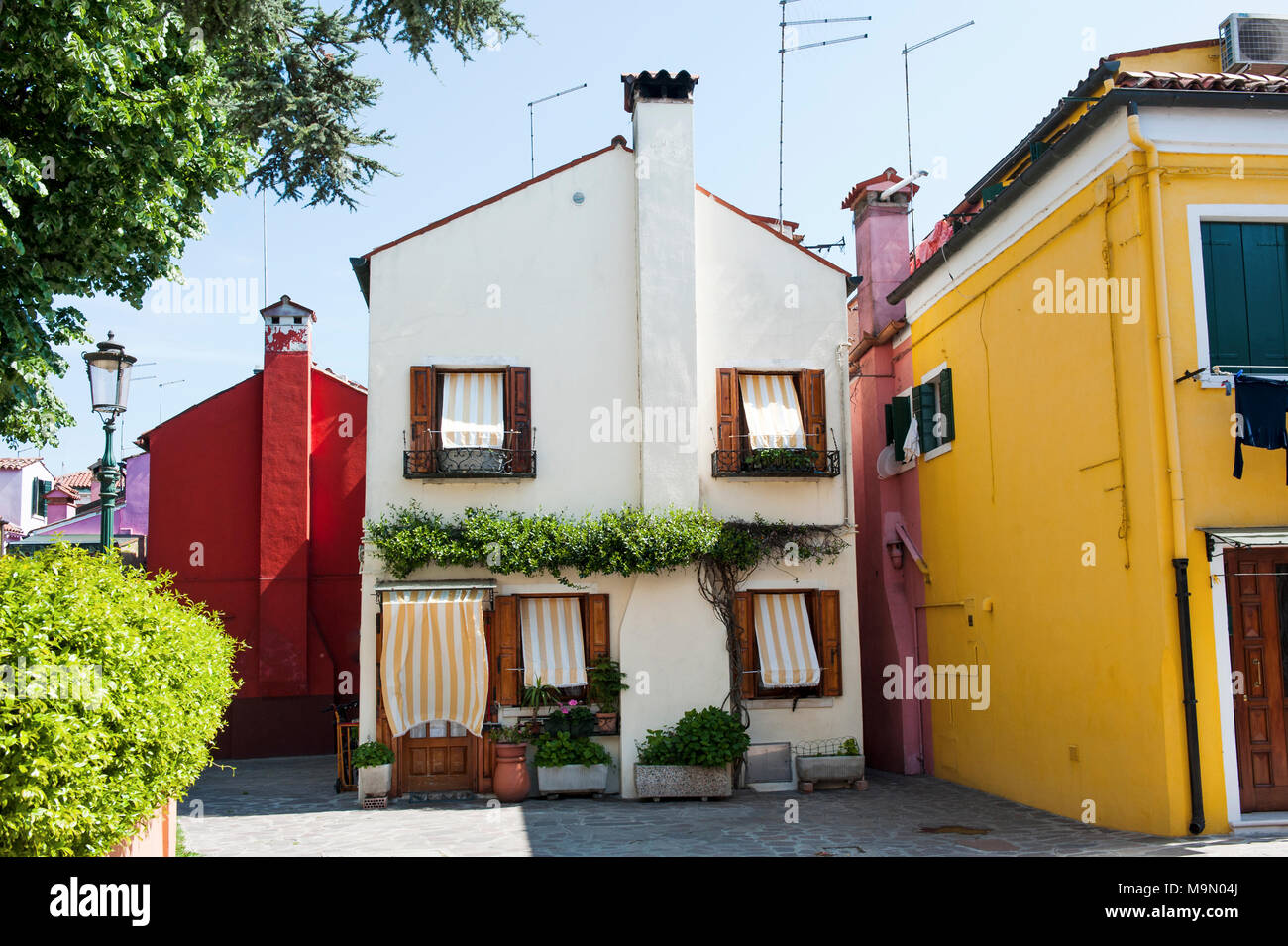 Burano island, Venice, Italy, Europe - beautiful white house - Stock Image