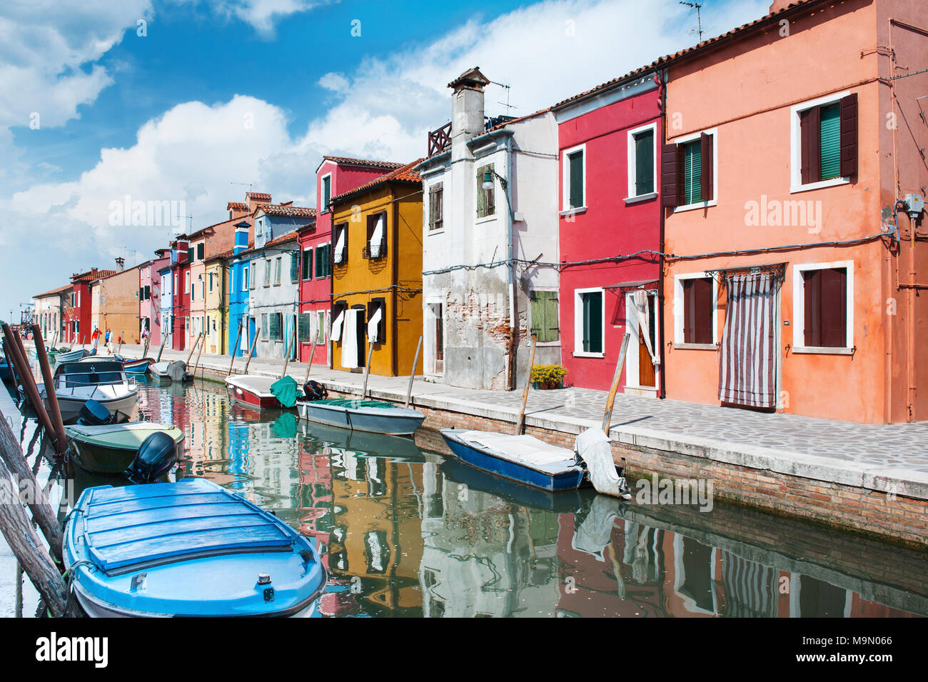 Burano island, Venice, Italy, Europe - canal and colorful houses beautiful day view - Stock Image