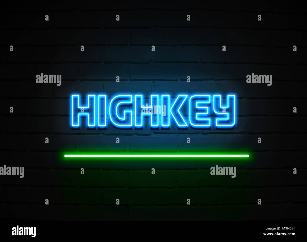 Highkey neon sign - Glowing Neon Sign on brickwall wall - 3D rendered royalty free stock illustration. - Stock Image