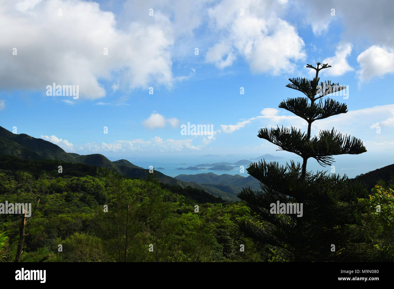 View from the platform of the Big Tian Tan Buddha on Lantau Island, Hong Kong, China - Stock Image