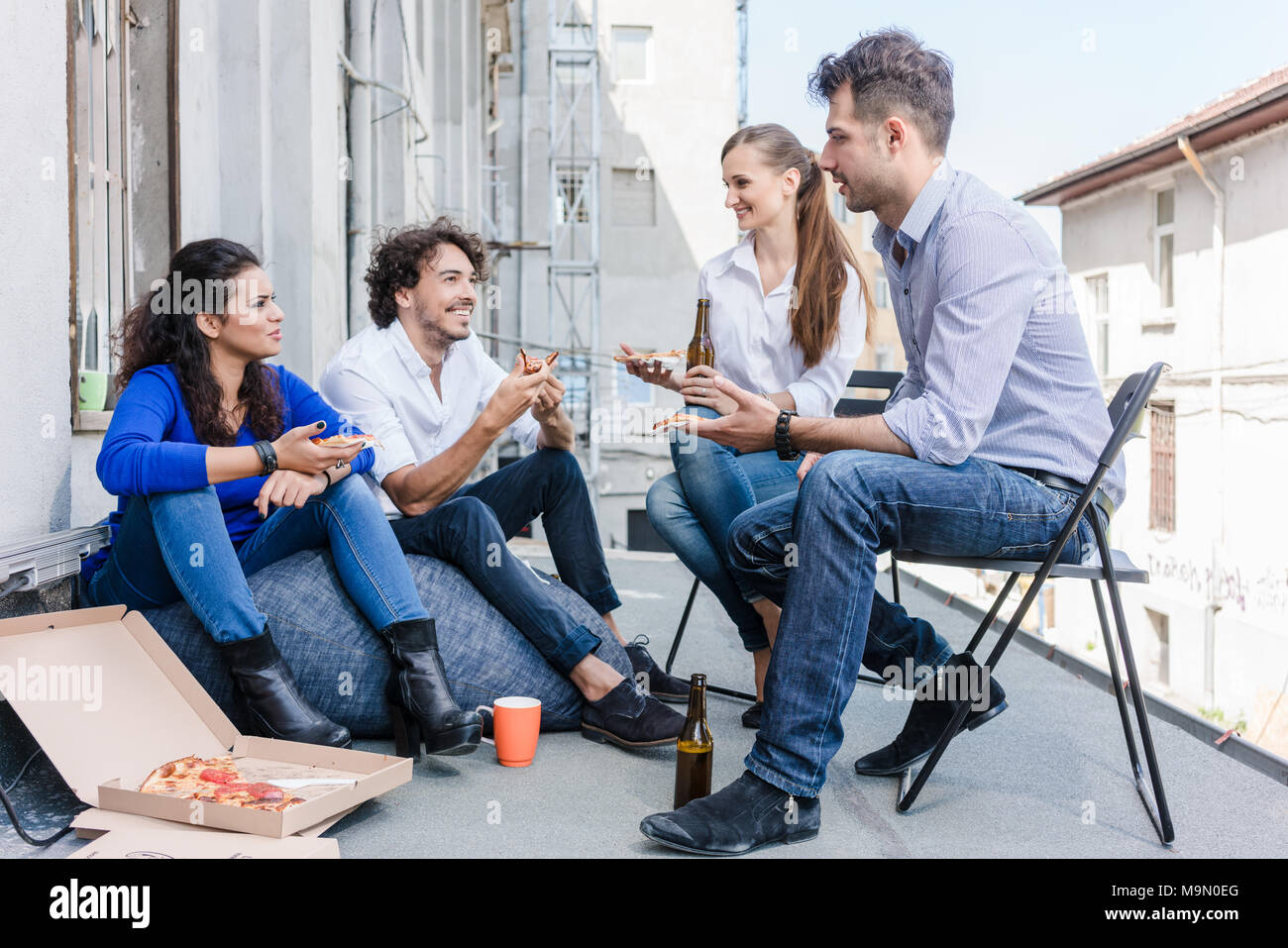 Team of Creative industries agency during lunch - Stock Image