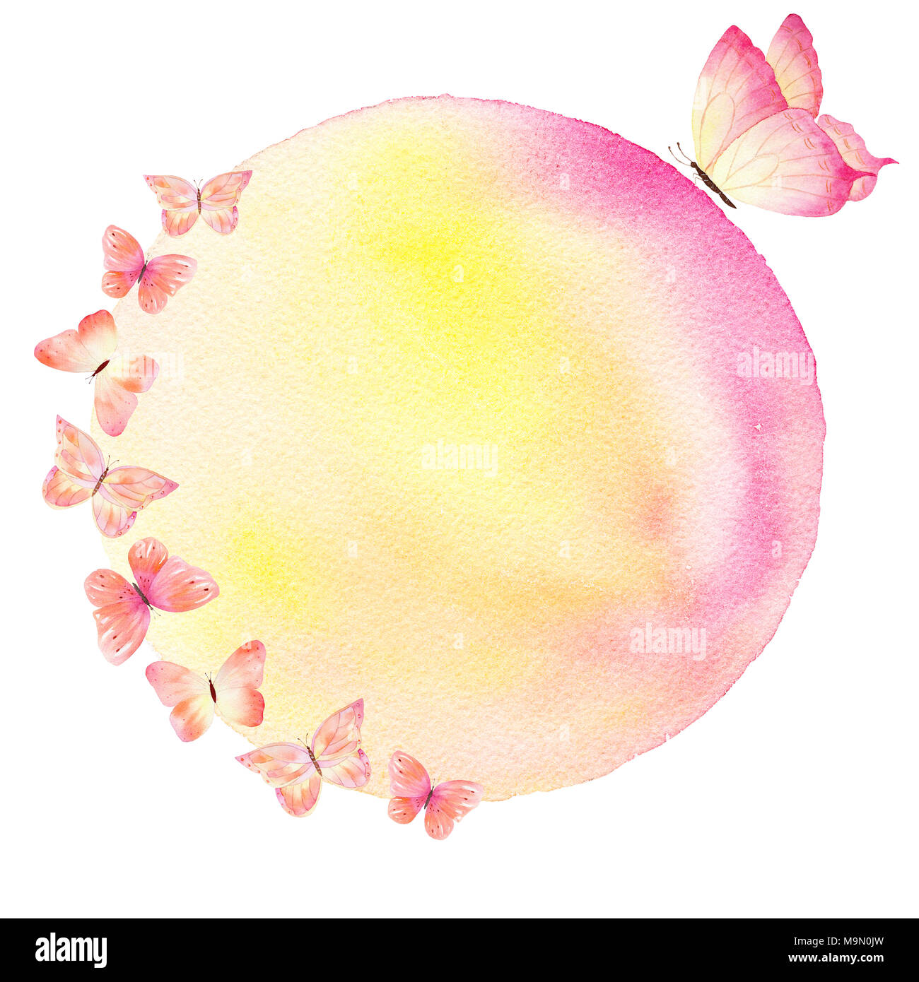 Watercolor Handmade Colorful Background With Butterflies Can Be