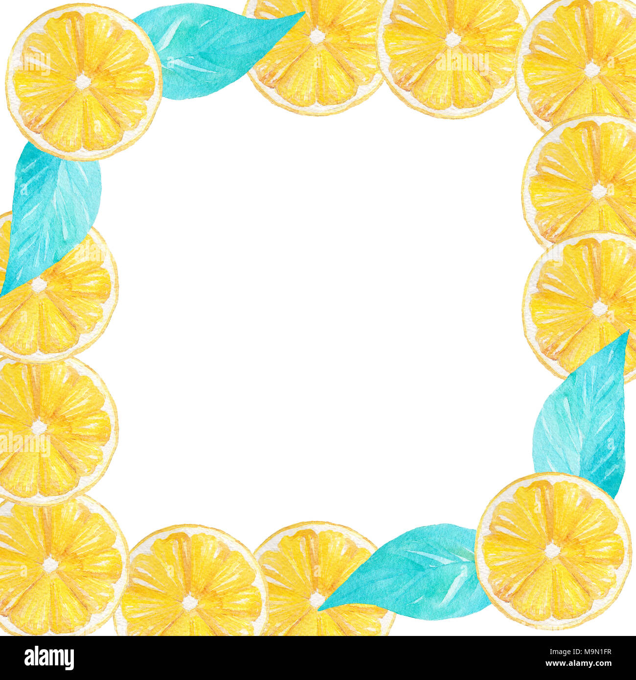watercolor handmade lemon yellow fruit frame border can be used for invitations decorations cards wallpapers menu M9N1FR