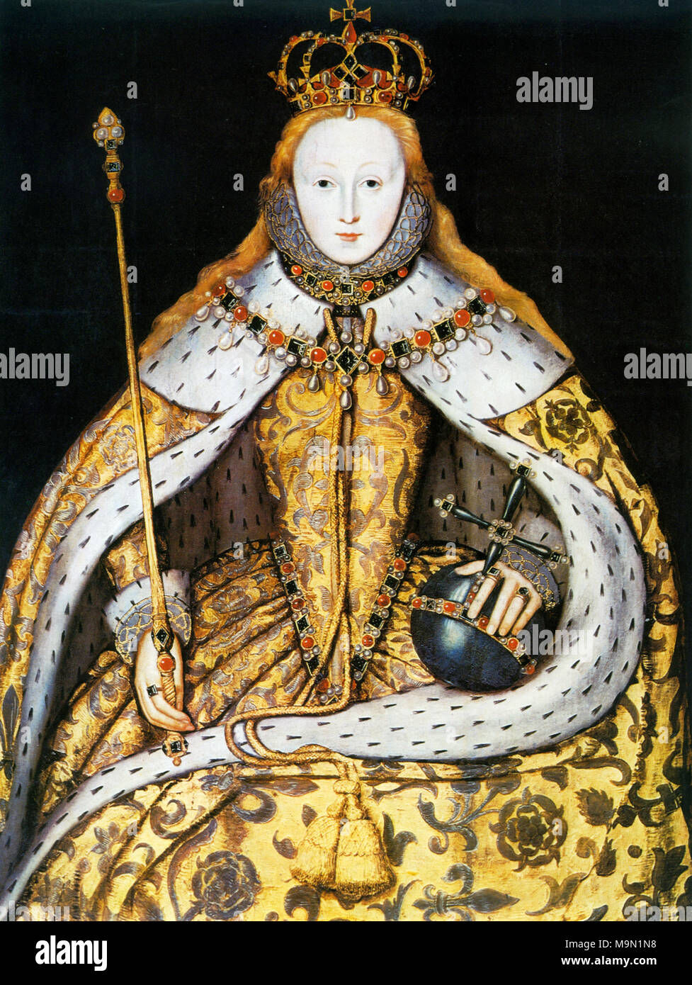 QUEEN ELIZABETH I OF ENGLAND (1533-1603)  in her Coronation robes in 1558. - Stock Image