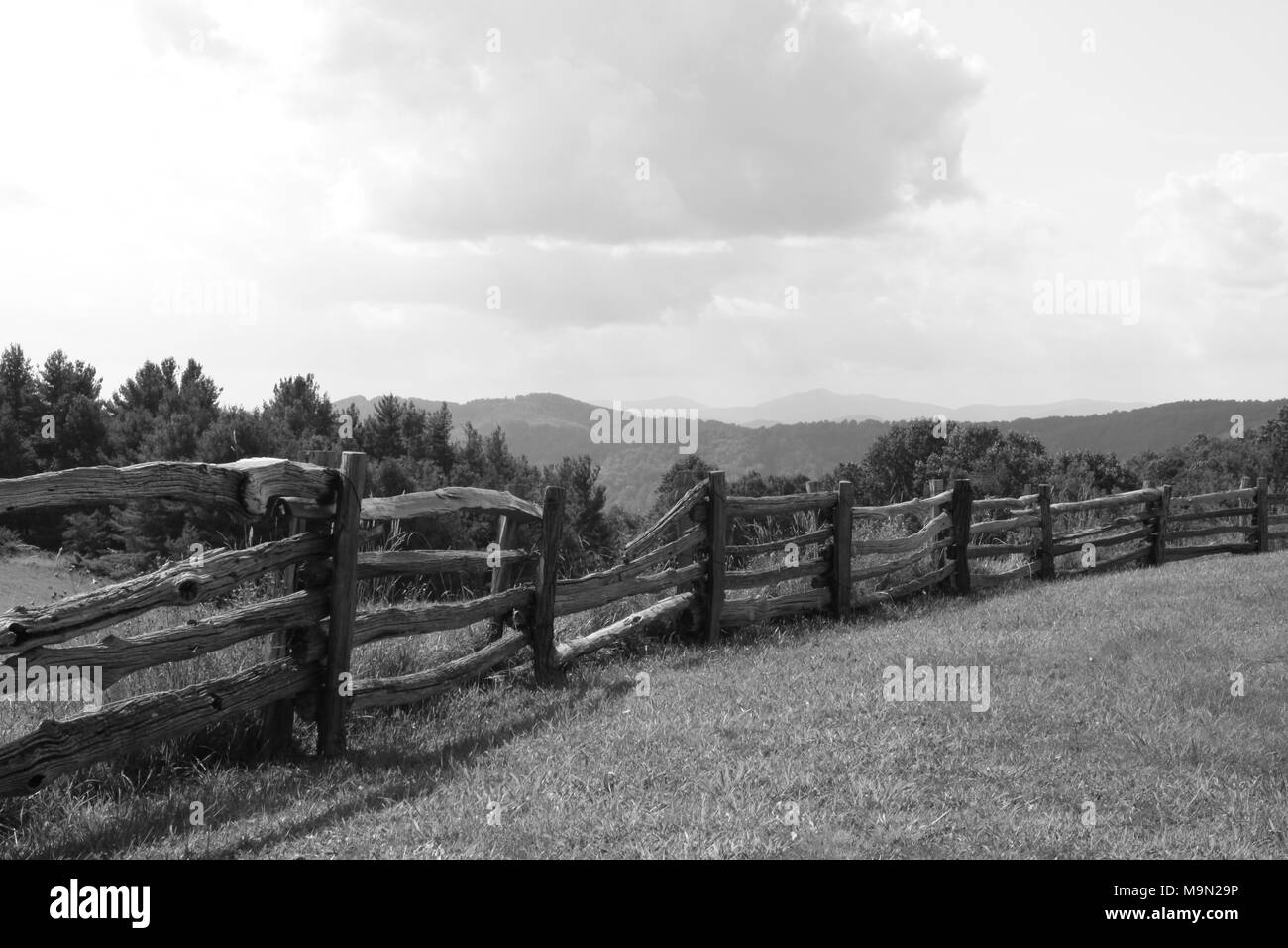 Beautiful North Carolina mountains with old time feel of black and white - Stock Image