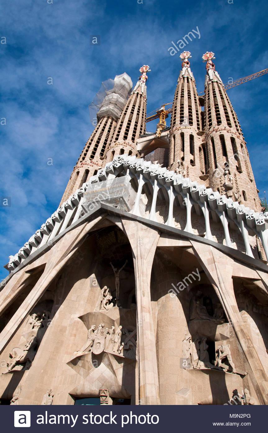 Sagrada Familia, fachada en obras 2018, Gaudí arquitecto, Barcelona, España - Stock Image