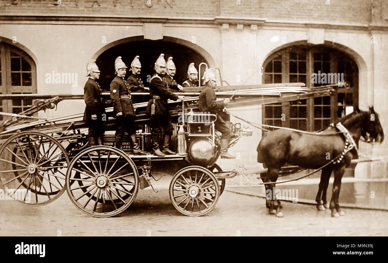 Croydon Fire Brigade in 1910 - Stock Image