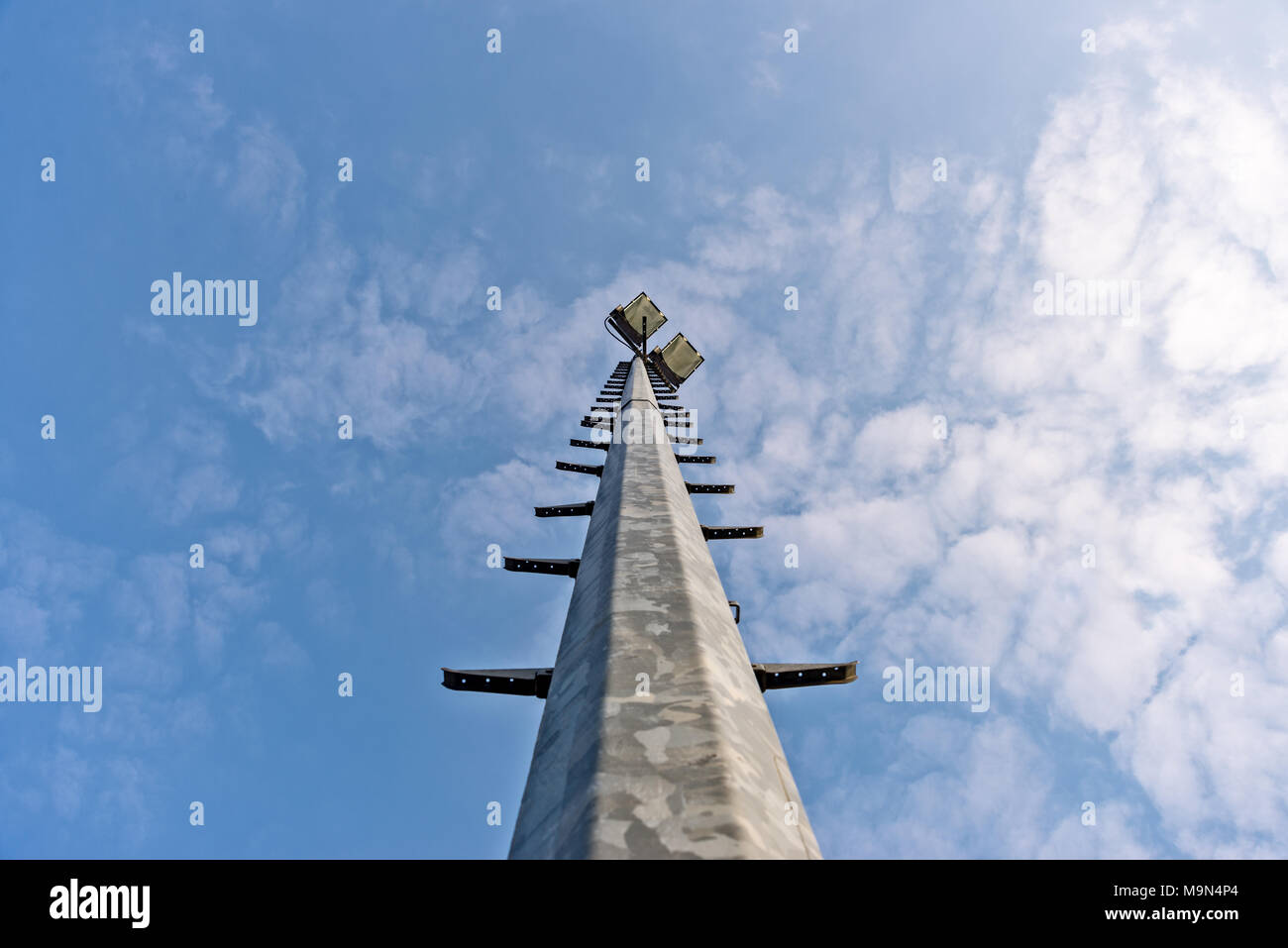 Floodlight from below for the soccer field - Stock Image