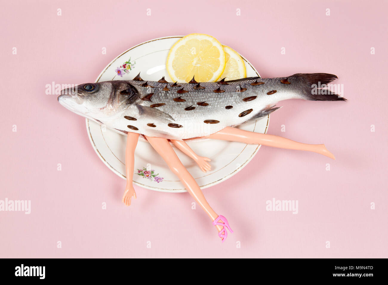 Fish legs stock photos fish legs stock images alamy a bass fish with arms and legs of a doll inside on a flower plate biocorpaavc Gallery