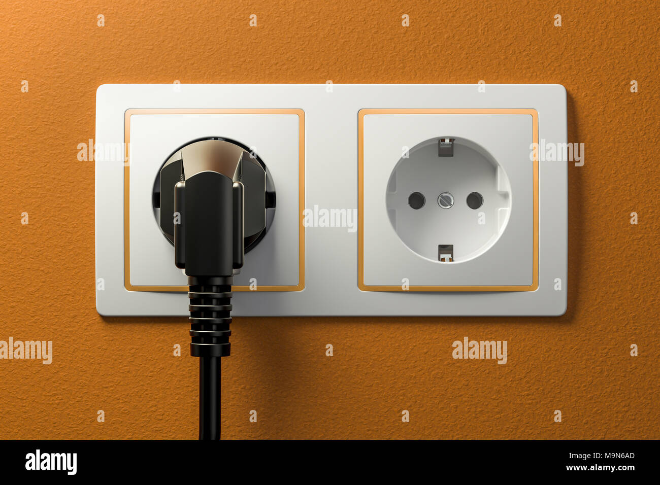 Power plug into electrical socket. 3D rendering Stock Photo