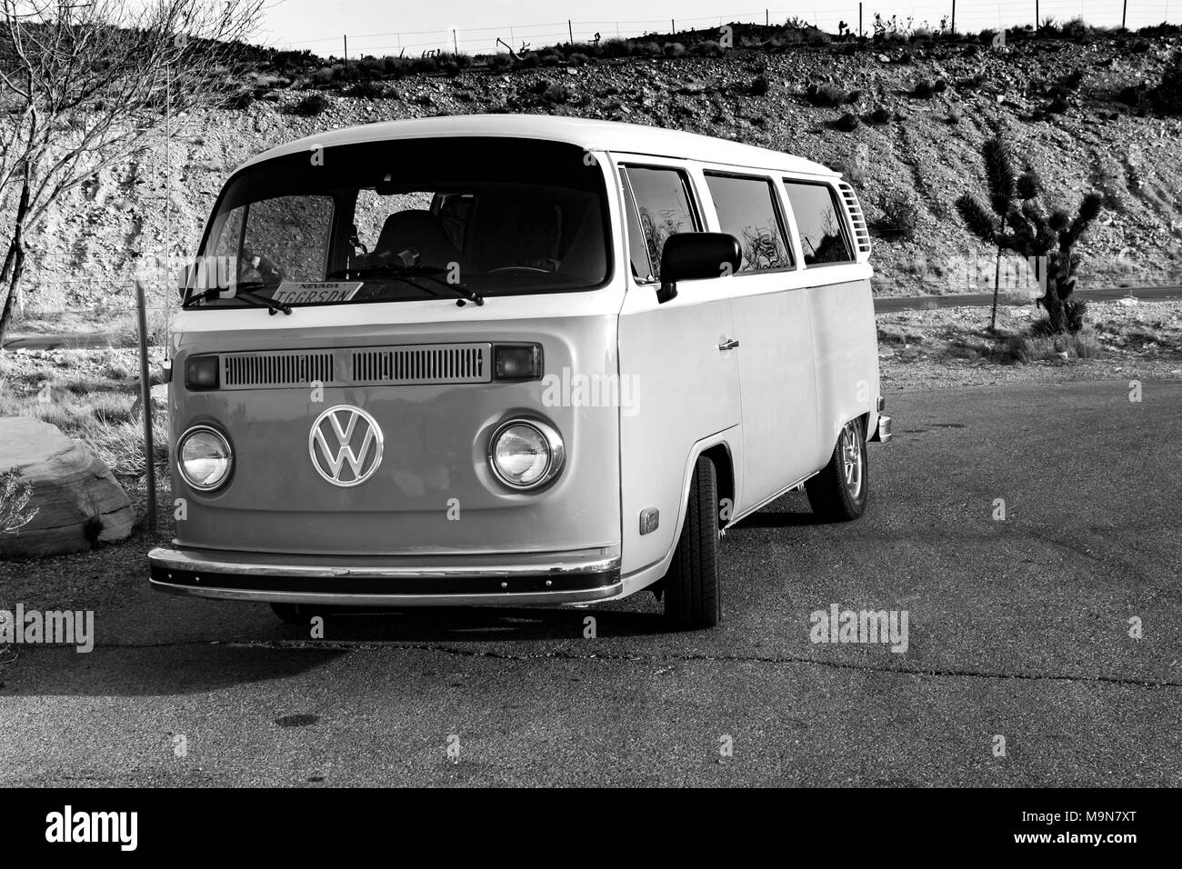 00d15c5217 Green Volkswagen Camper Van parked at Red Rock Canyon in the Mojave desert