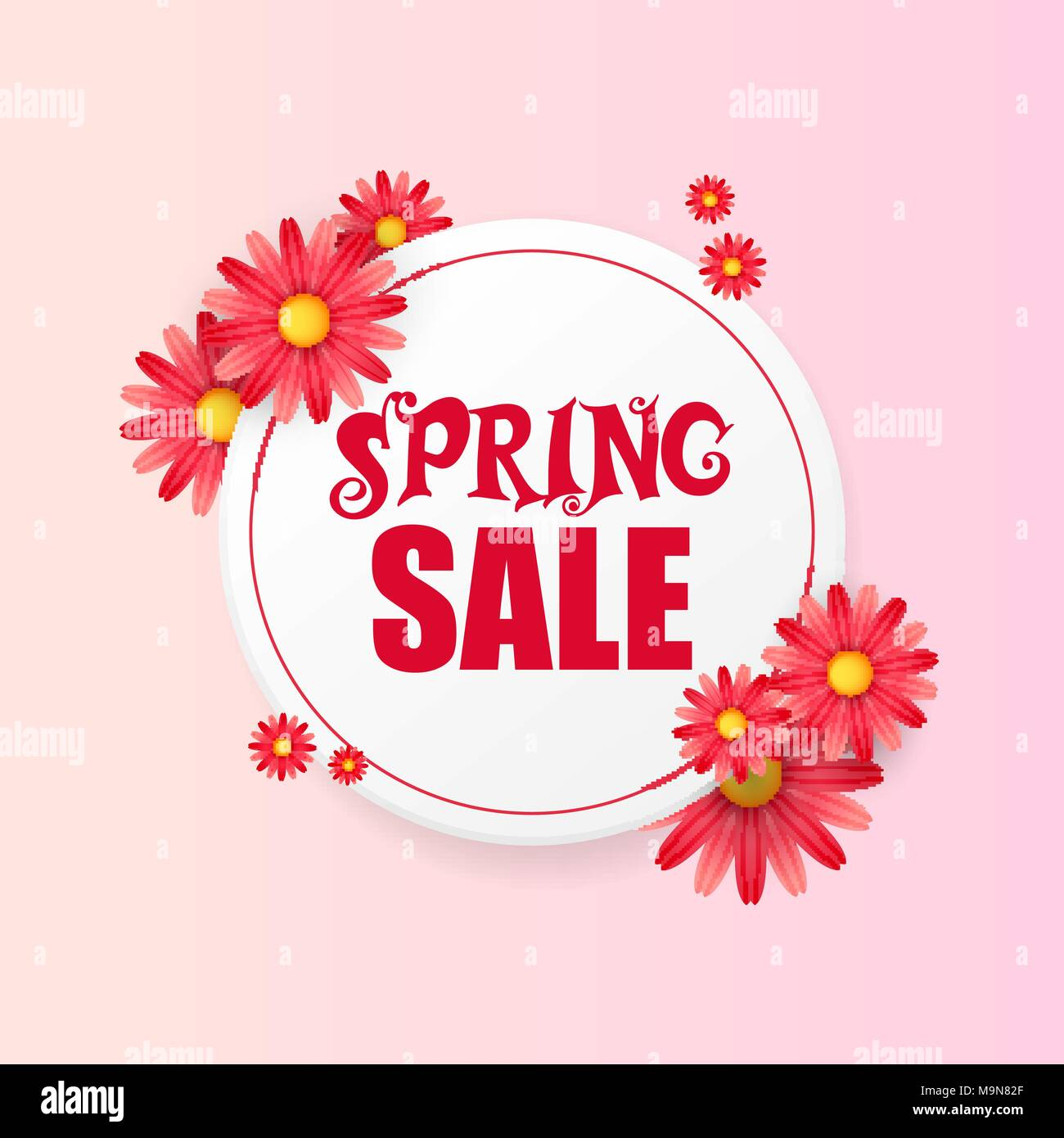 Banner Design Template With Floral Decoration For Spring Sale Round