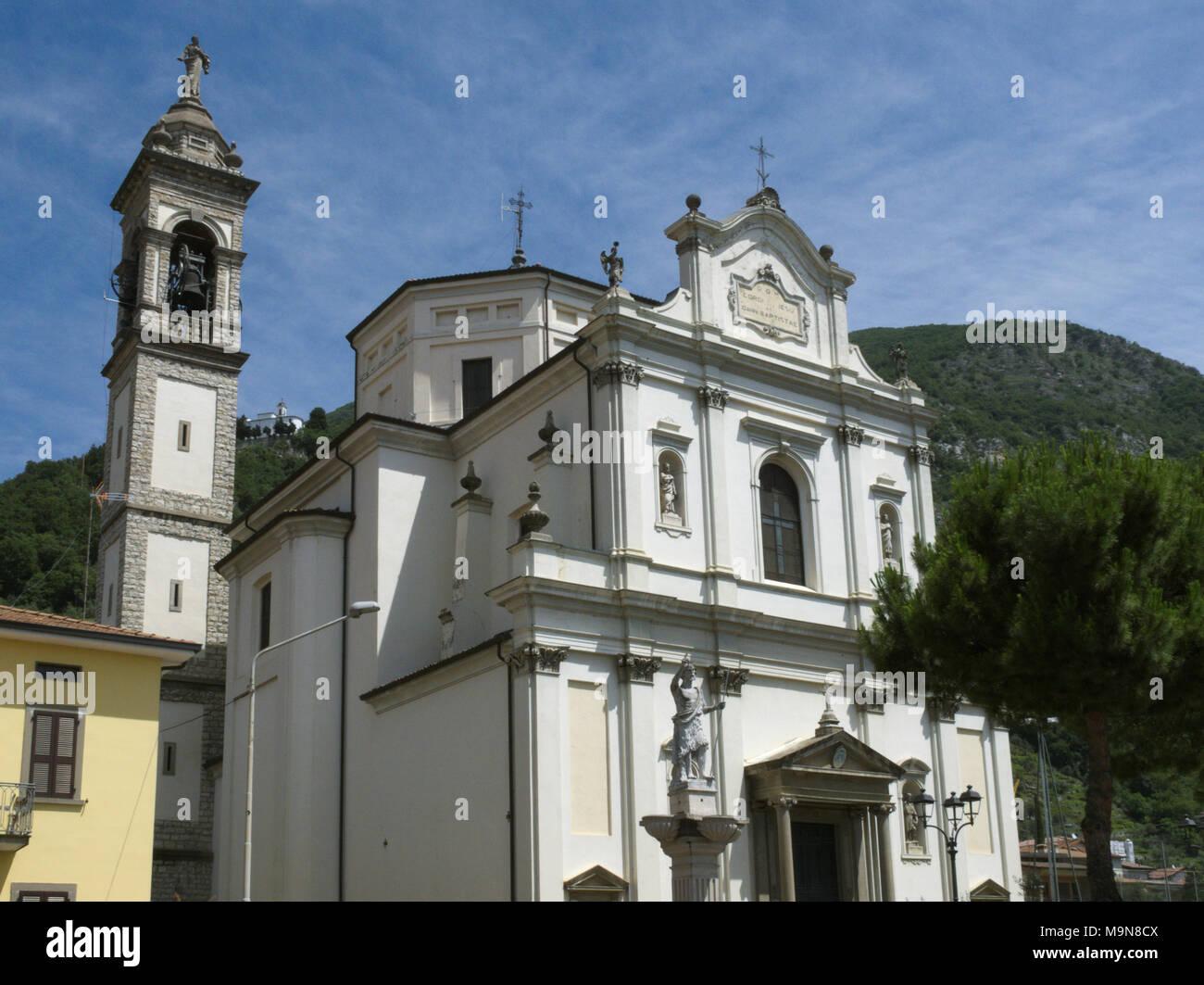 the San Giovanni Battista church in Predore, Lake Iseo, Italy - Stock Image
