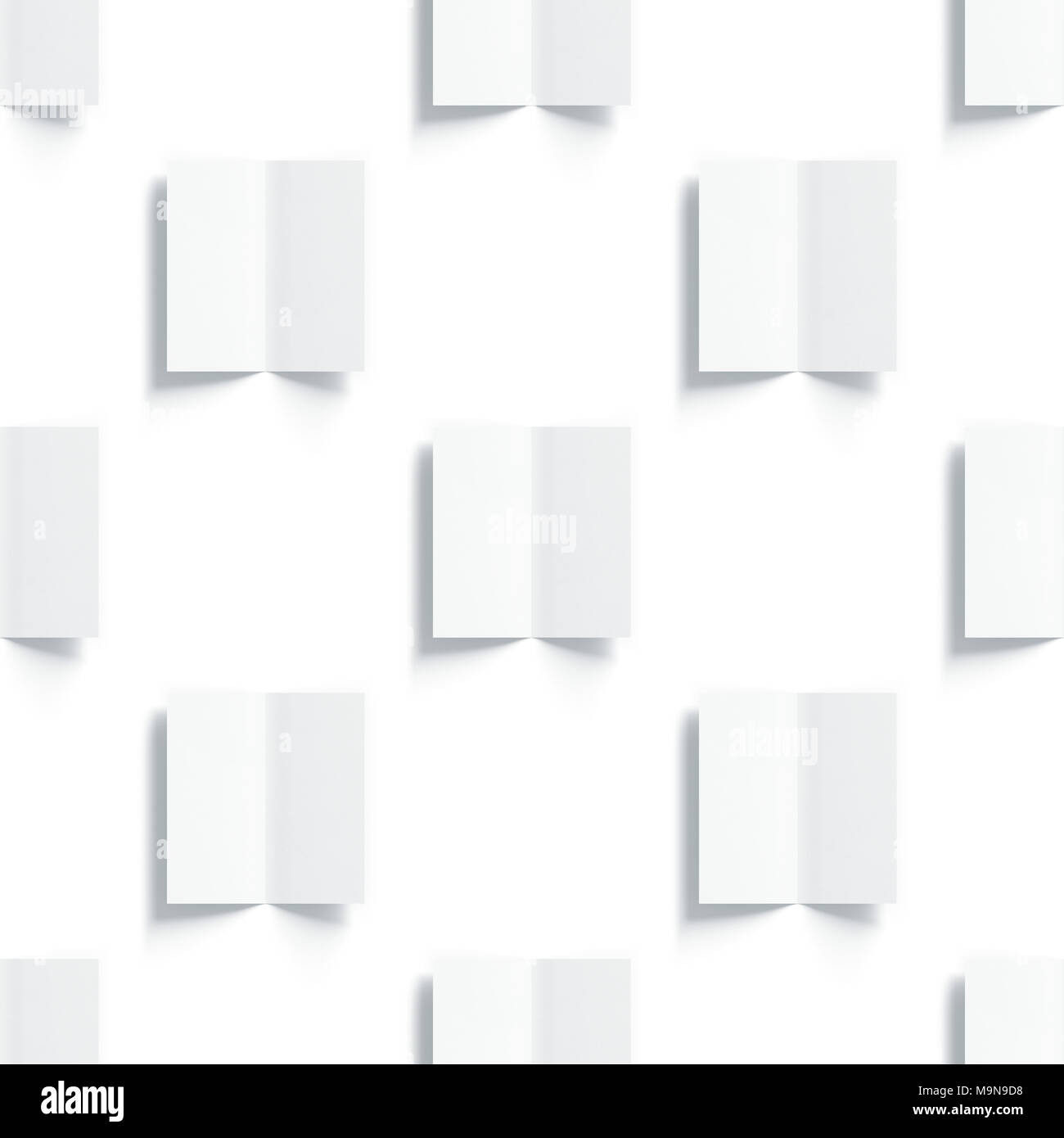 Blank white multi-page booklet mockups pattern, opened top view, 3d rendering. Plain twofold brochures mock ups set isolated. Folded book cover and fl Stock Photo
