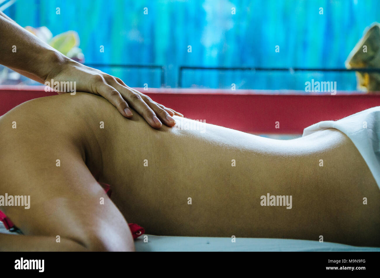 Cosmiatra doing relaxing massages to a patient Stock Photo