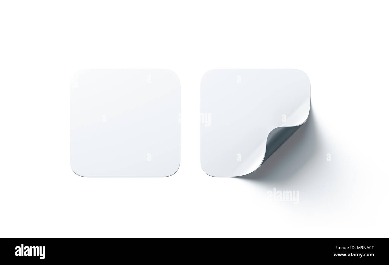 Blank white square adhesive stickers mock up with curved corner. Empty quadratic sticky label mockup with curl. Clear adherent tag template for glass  - Stock Image