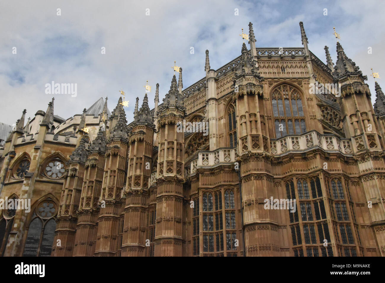 Henry VII Lady Chapel Exterior. This Chapel is at the far eastern end of Westminster Abbey and was paid for by the will of Henry VII. It was construct - Stock Image