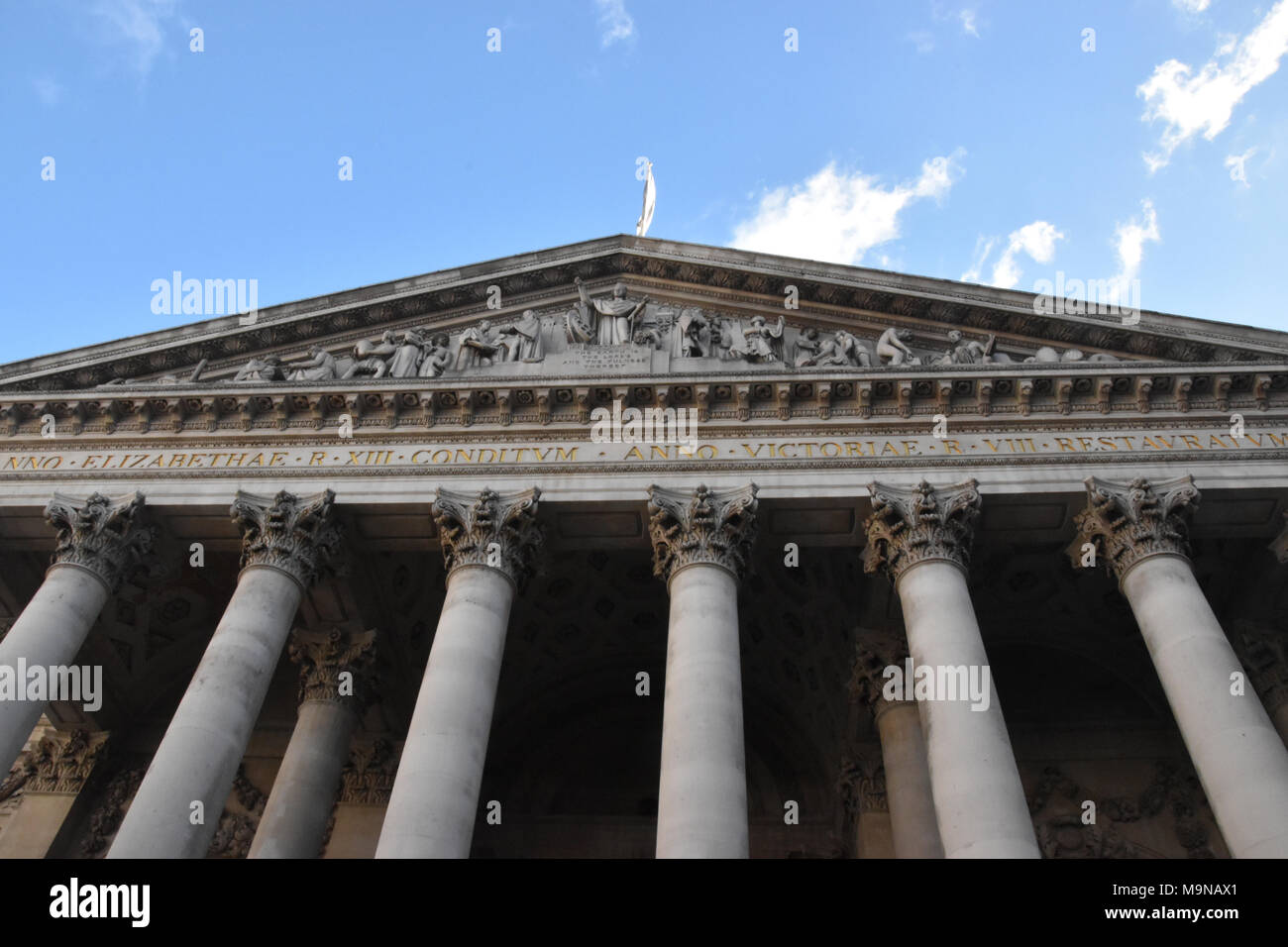 Front Facade of the Royal Exchange in the City of London. The current building was opened on October 28th, 1844. - Stock Image
