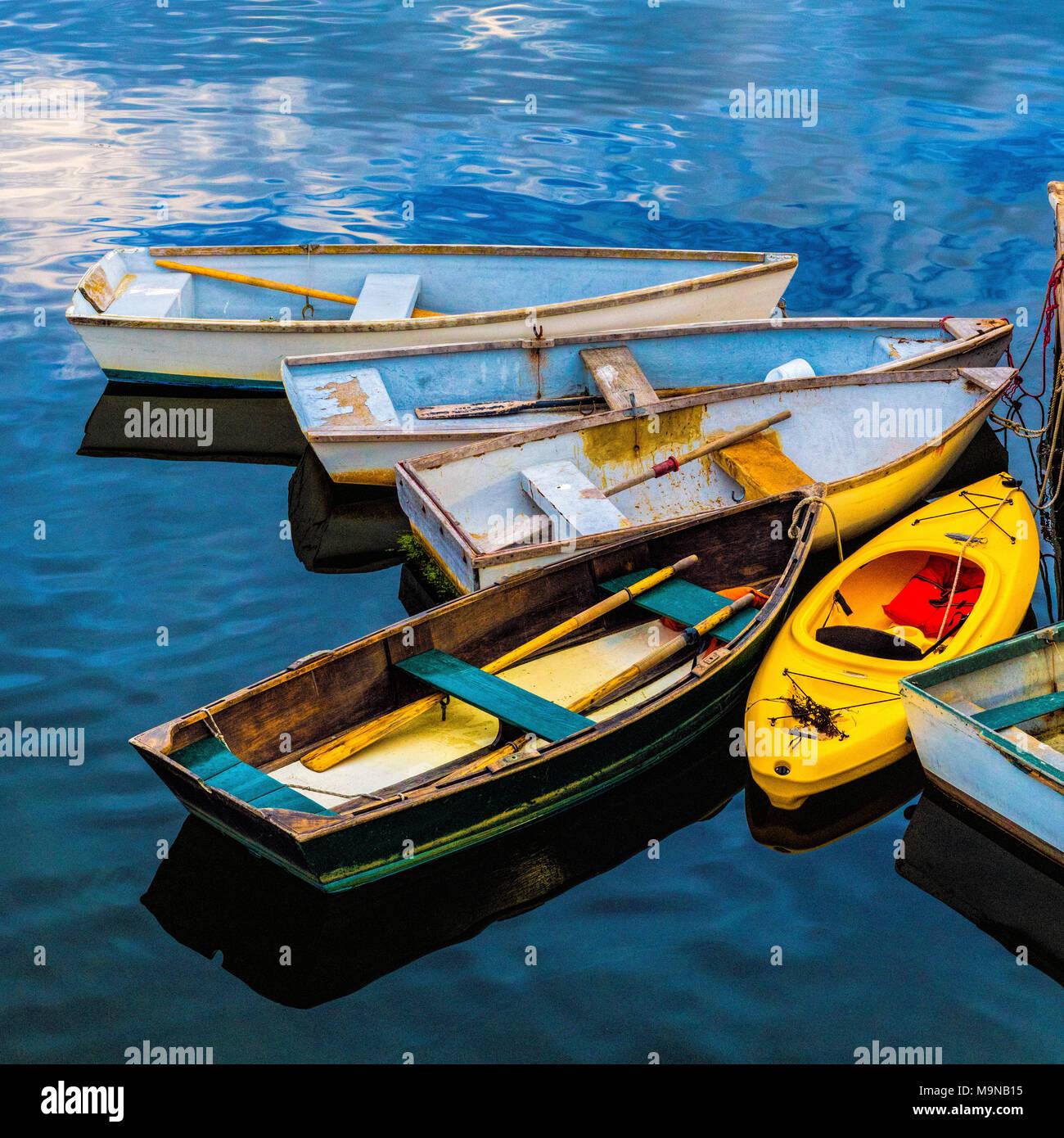 Small boats at wharf - Stock Image