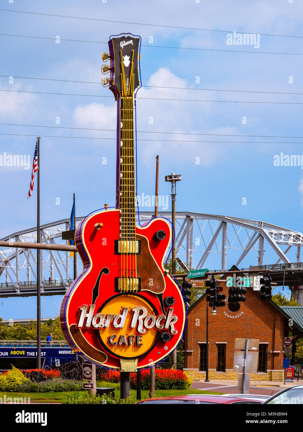 Nashville, TN - Hard Rock Cafe's giant outdoor guitar used as advertising prop. - Stock Image