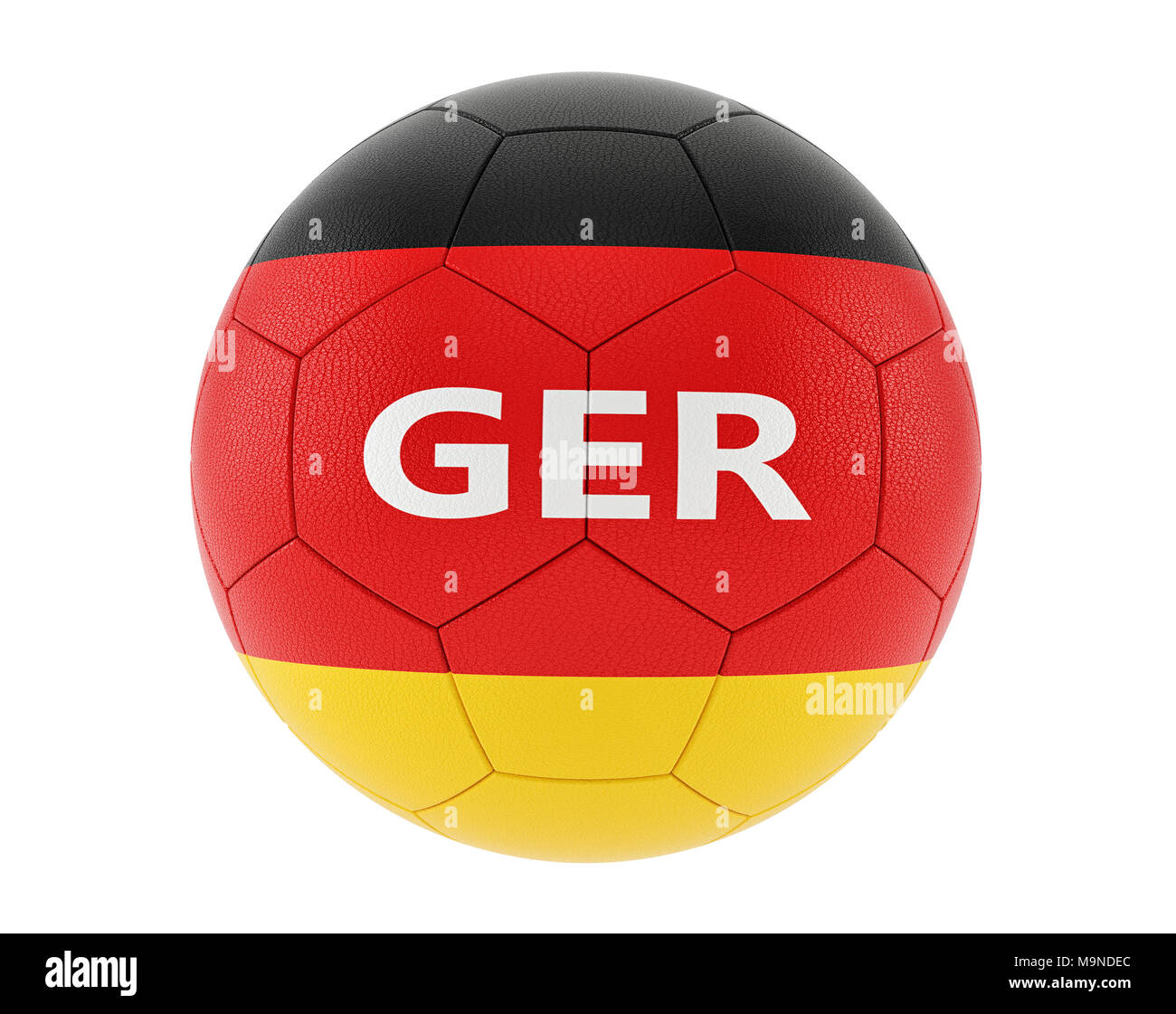 Soccer ball in german national colors - 3D Rendering - Stock Image