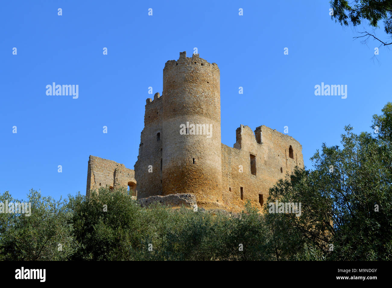 View of Mazzarino Medieval Castle with a Natural Frame, Caltanissetta, Sicily, Italy Stock Photo