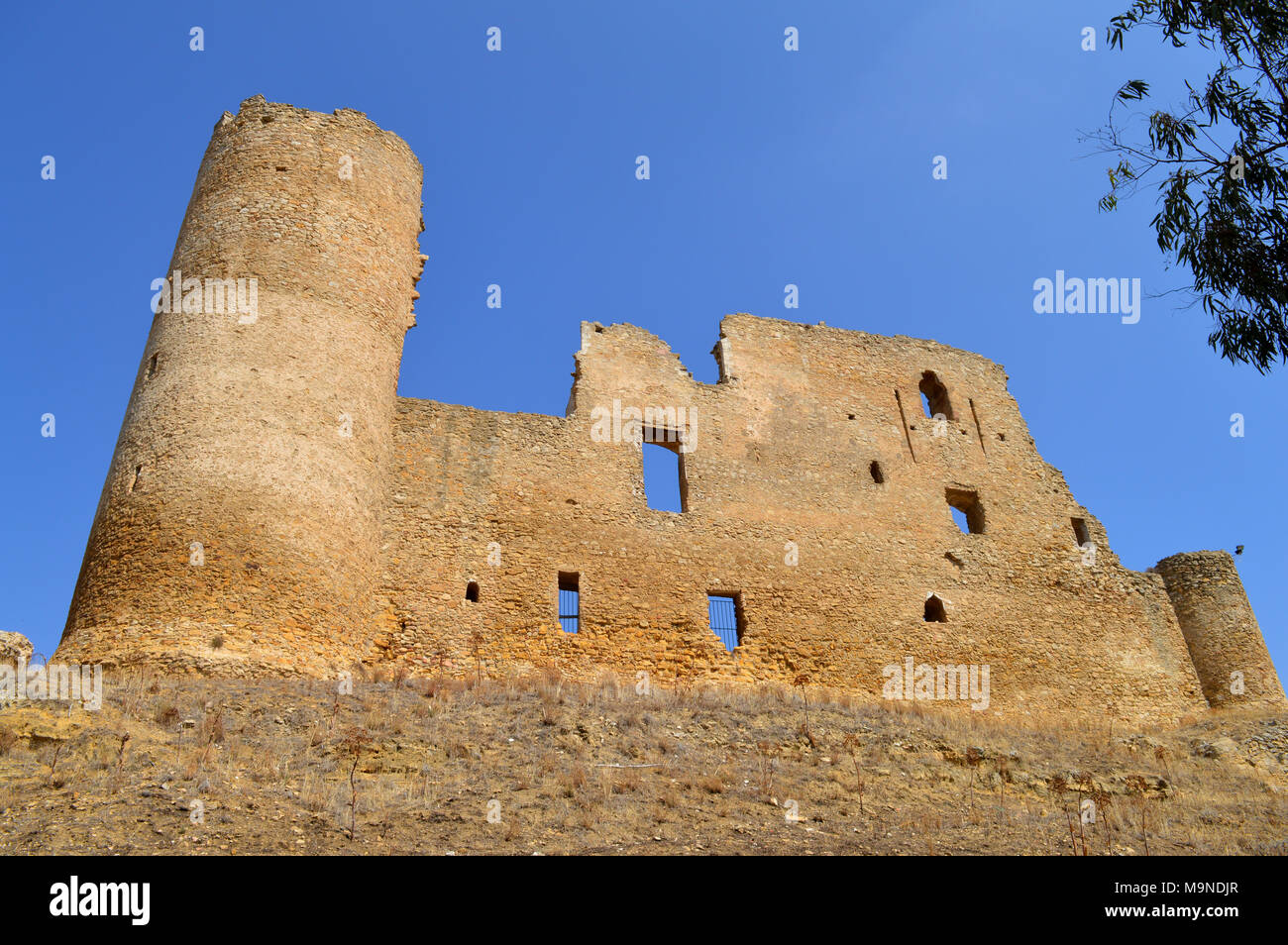 View of Medieval Castle, Mazzarino, Sicilian Heritage, Italy, Europe Stock Photo