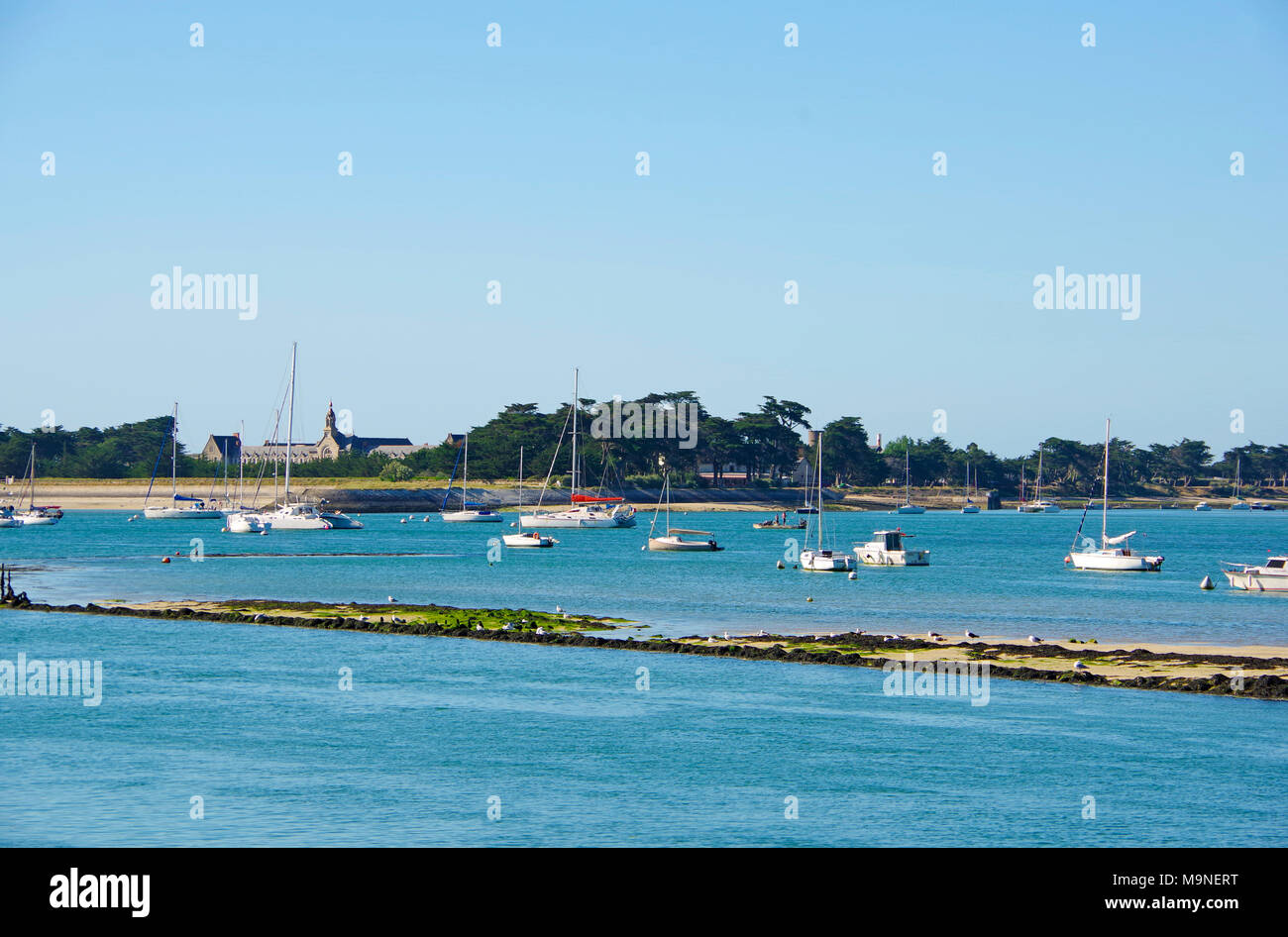 Superb View Of Pen Bron From Le Croisic Harbor In Loire Atlantique, France   Stock  Image