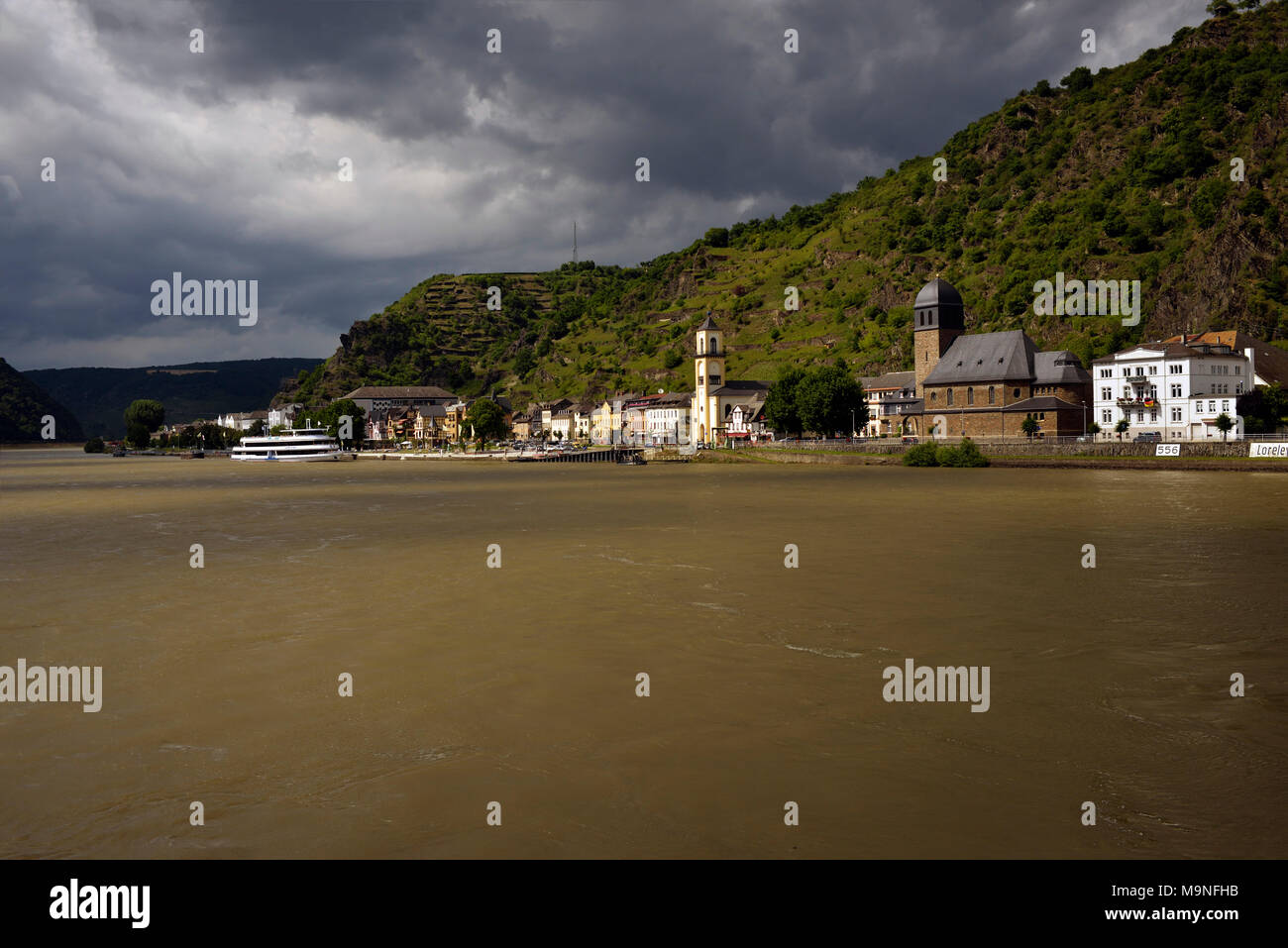 Lorelei (Lorely) on the River Rhein in Germany is the site of ancient legendary folklore. - Stock Image