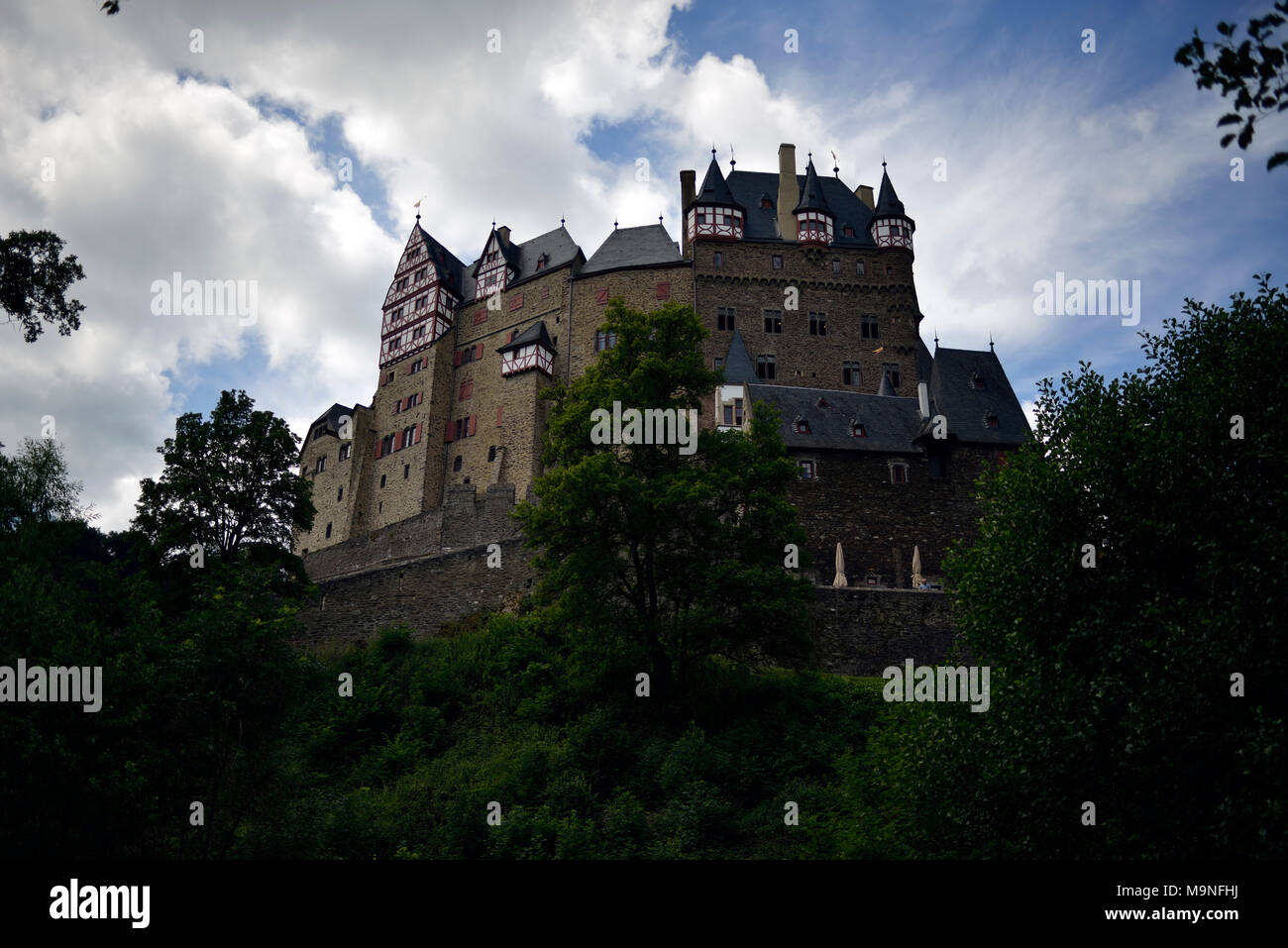 Eltz Castle (Burg Eltz) in a wide-angle view from afar. Koblenz, Germany. - Stock Image