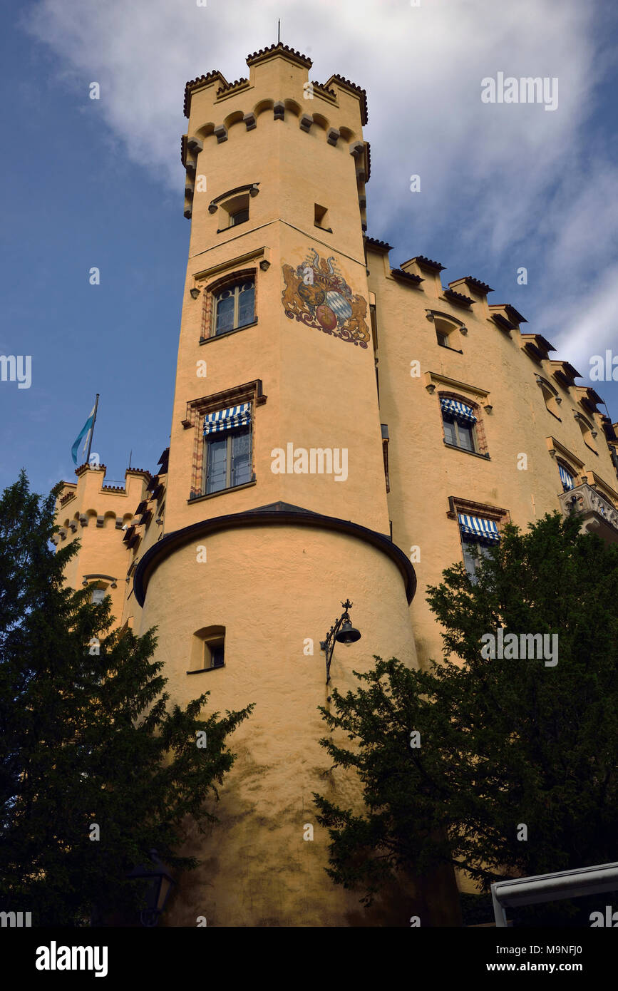 Hohenschwangau Castle was the childhood home of 'mad' King Ludwig II the Second. Fussen, Bavaria, Germany. - Stock Image