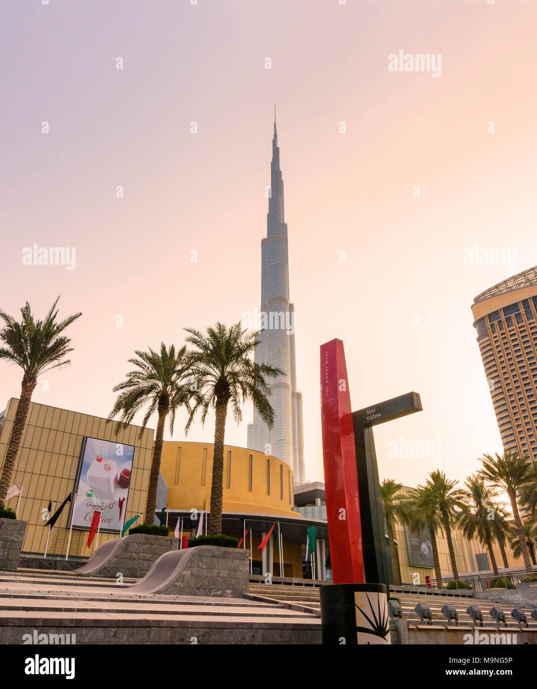 Burj Khalifa and The Dubai Mall, Downtown Dubai, Dubai, United Arab Emirates - Stock Image