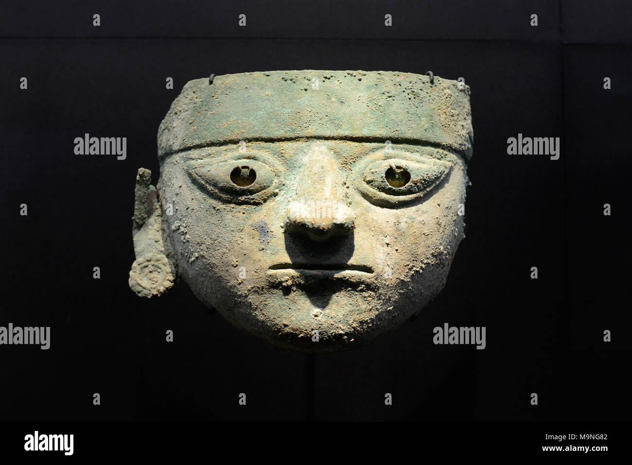 Silver and Copper Funerary Mask (350-60AD) from the Moche or Mochica Culture or Civilisation near Trujillo Peru - Stock Image